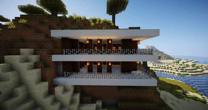 1 14 2 Modern Mountain Side House Minecraft Project