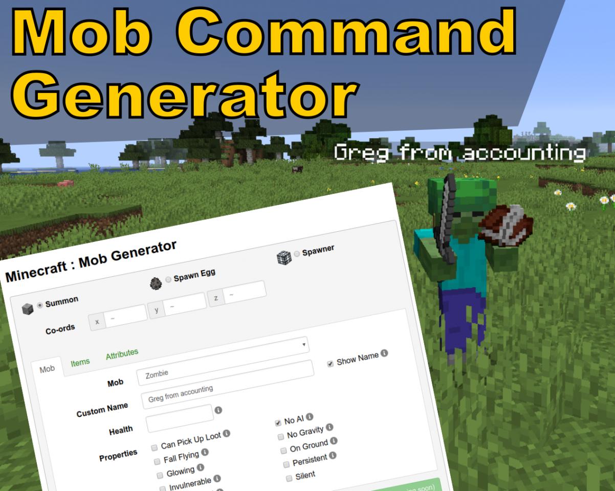 Summon Mob Command Generator Minecraft Mod