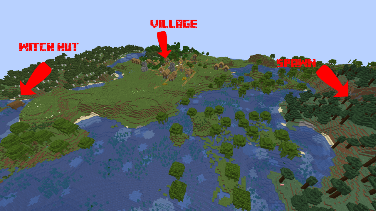 Awesome 1.14 seed- Village and Witch Hut at spawn ...