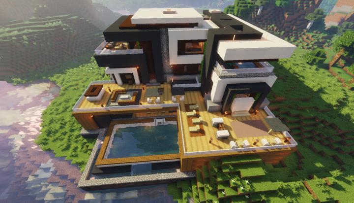 Maden Mansion 1 14 Vanilla Modern House Minecraft Map