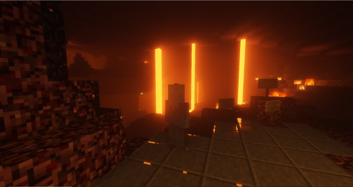 player looking at lava in the nether