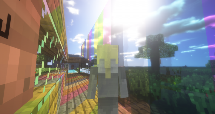 player looking rainbow glass