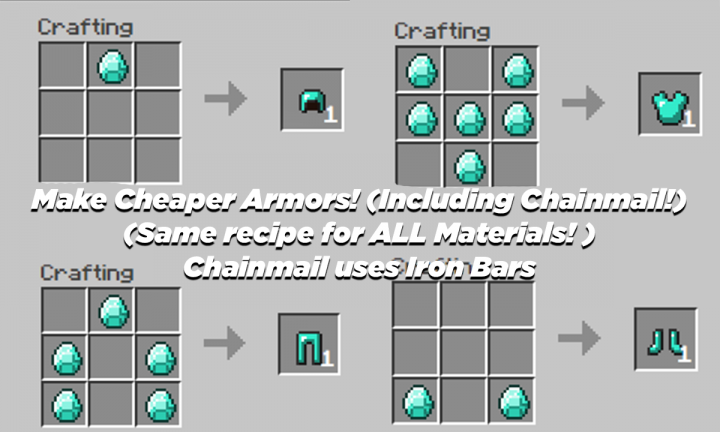 These Recipes APPLIES for ALL MATERIALS! Leather, Chainmail, Iron, Golden, Diamond Chainmail uses Iron Bars!
