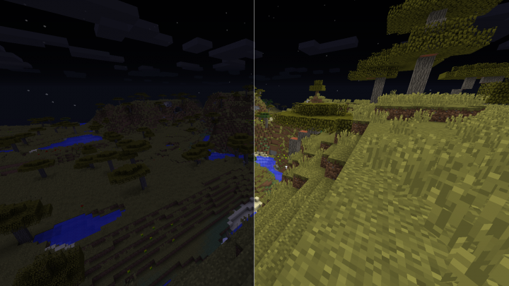 Vanilla world in night comparison before - after.