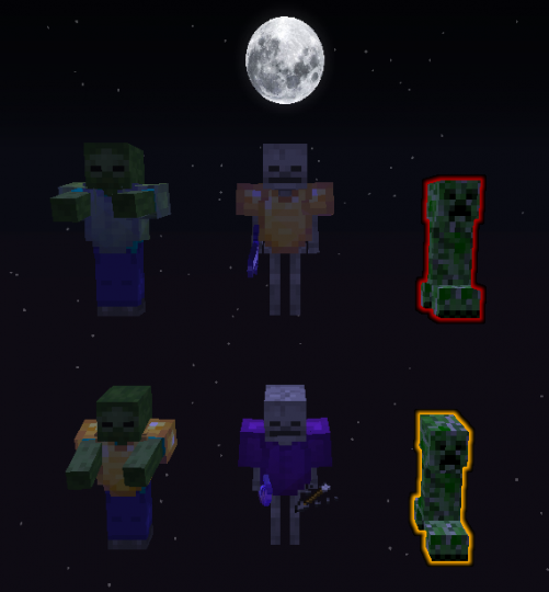 Different colored Blood Moon mobs