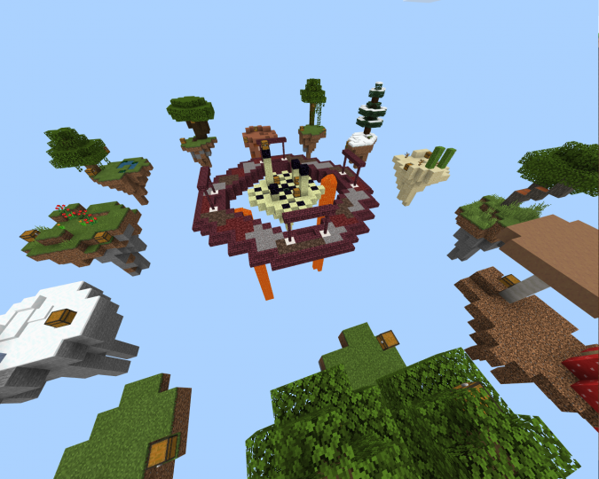 Biome Skywars for Minecraft Bedrock!! Overworld + Nether + End