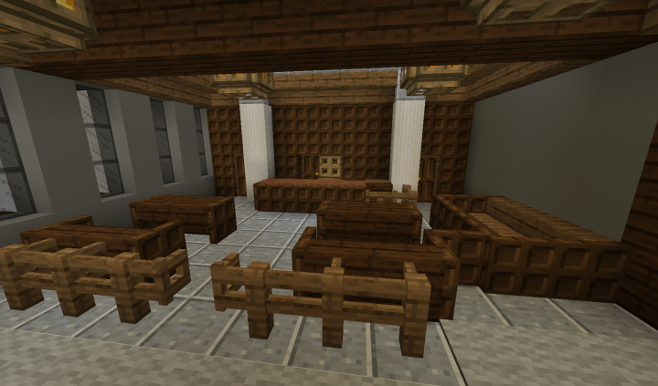 """Close-up of """"the bench"""", Jury Box, Witness Stand, Defense and Prosecution desks..."""