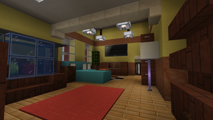 A 2F lobby with a TV for playing video games.
