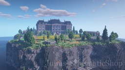 British Manor on rocky Island in the Sea Minecraft Map & Project