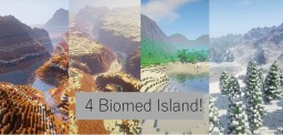 4 Custom Biome Island (Snow, Jungle, Canyon Desert, Mesa) - Survival ready Island [WORLDPAINTER], [7000x4000] + DOWNLOAD Minecraft Map & Project