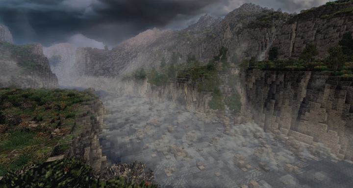 The rapids of Sarn Gebir to the north of the Argonath. There was a portage way for boats on the opposite shore.