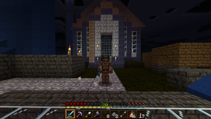 Quake Ranger posing solemnly in front of a cathedral.