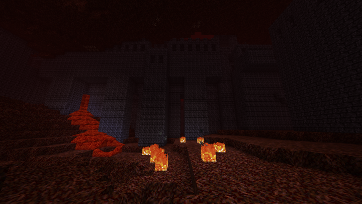 Nether Fortress with Lava spilling out.