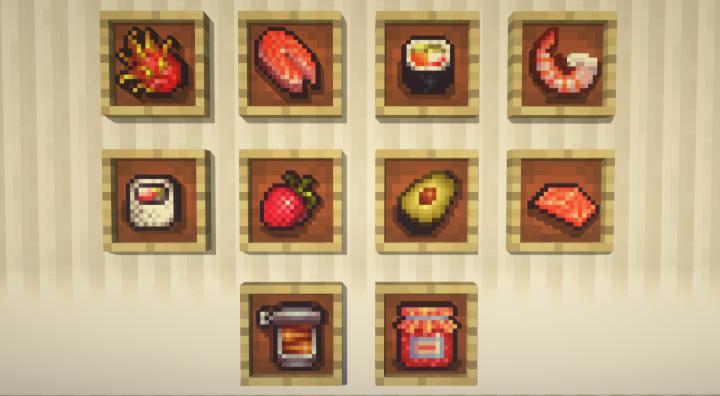 Мод на еду и суши More Food Mod [1.12.2]