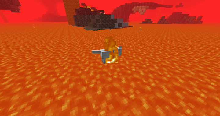 """A wolf with """"Fireproof"""" mutation swimming in lava"""