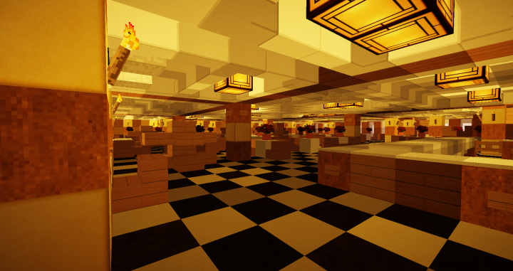 Ale Carte Restaurant removed carpet with black and white tile pattern