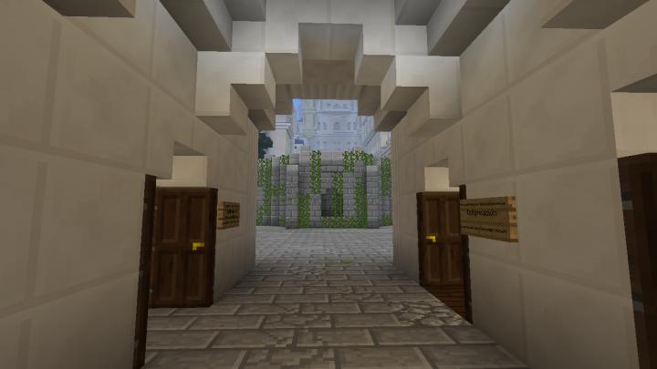 Inside entrance building