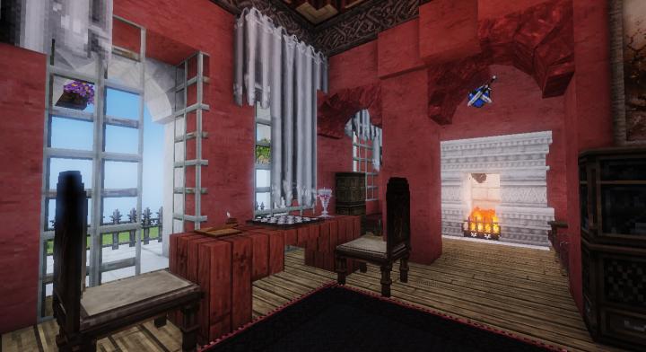 hall and fireplace