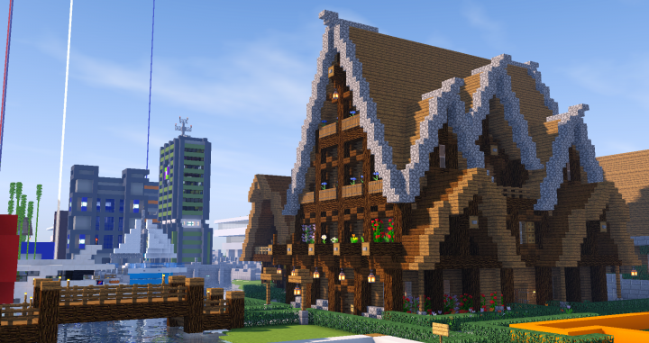 The Spawn Inn with some shops in the background