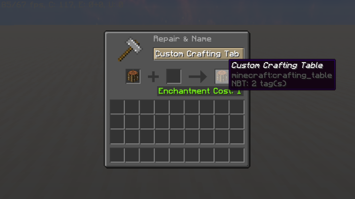 """Rename regular crafting table to """"Custom Crafting Table"""" then hold."""