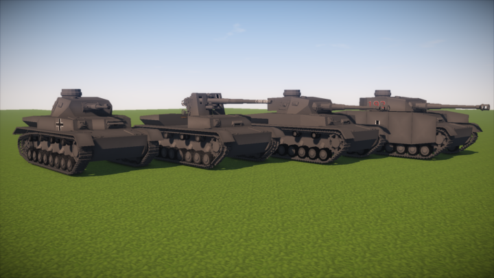 Medium tanks Panzer IV Ausfuehrung D, and G, Flak18 auf Panzer IV, Ausf. H - not included in the newest download