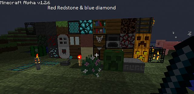 these are all the blocks in the (redstone & blue diamond) pack