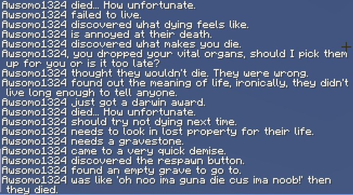 A few examples of custom death messages.