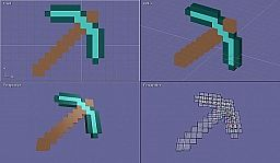 3D Model of Minecraft Pickaxe Minecraft Map & Project