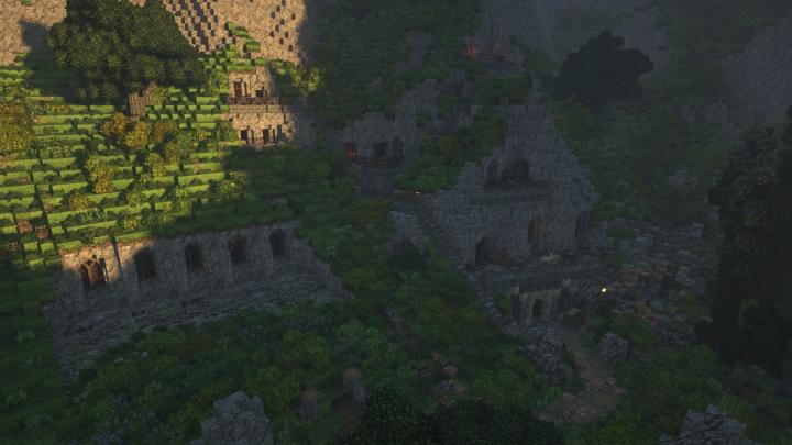 A smaller settlement nearby